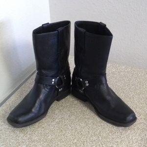 Frye Black Leather Youth Harness Boots